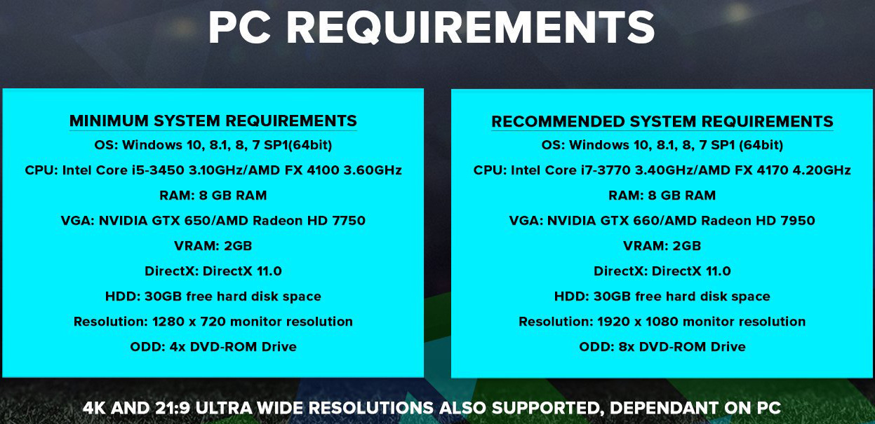 PES2018 Configuration requise STEAM