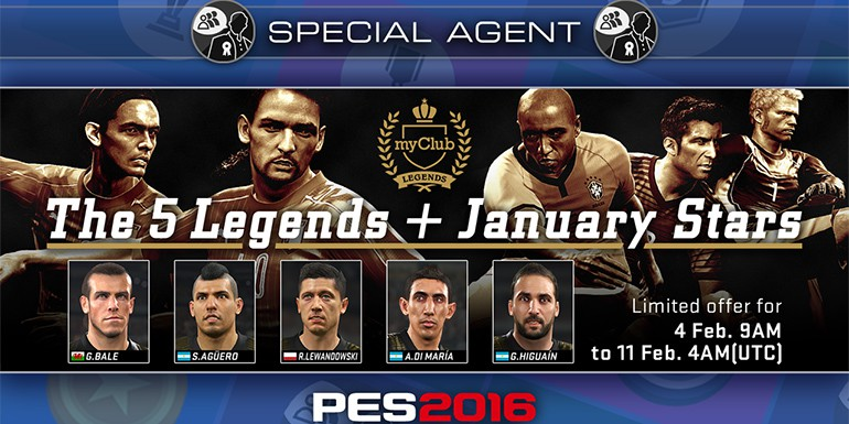 PES 2016 - myClub: The 5 LEGENDS + January STARS
