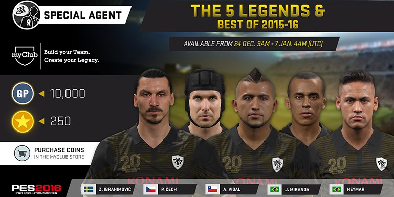 PES 2016 - myClub: The 5 LEGENDS & Best of 2015-16