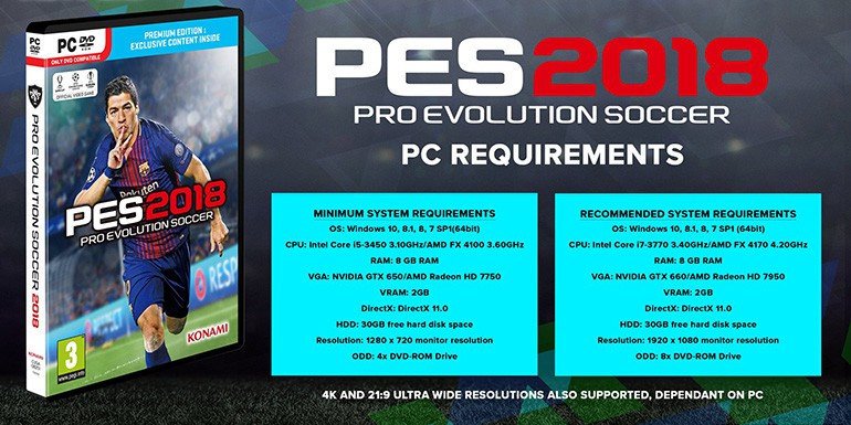 PES 2018 - PC: Configuration requise